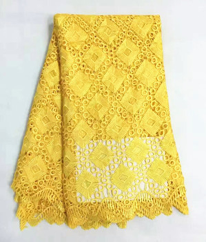 5 Yards/pc Luxury yellow lattice pattern mesh lace african guipure lace fabric french water soluble lace for clothes RW3-1