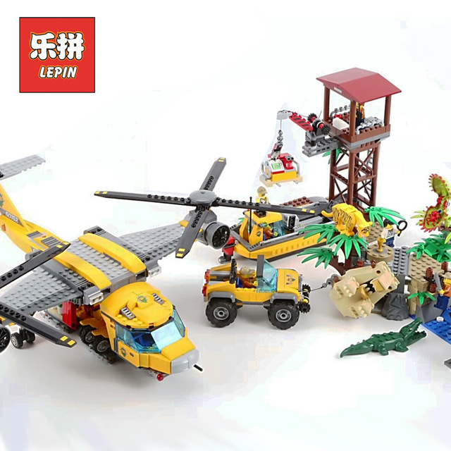 Lepin 02085 City Series Exploration of Jungle Air Drop Helicopter Set 60162 Building Blocks Bricks children Christmas Gift lepin 02061 genuine city series the jungle exploration site set 60161 building blocks bricks christmas gift for children 870pcs