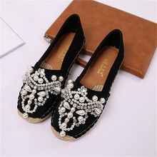Womens flat shoes exquisite pearl rhinestone decoration retro fisherman round toe comfortable womens
