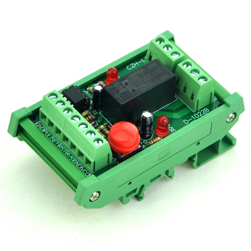 DIN Rail Momentary-Switch/Pulse-Signal Control Latching DPDT Relay Module, 12V