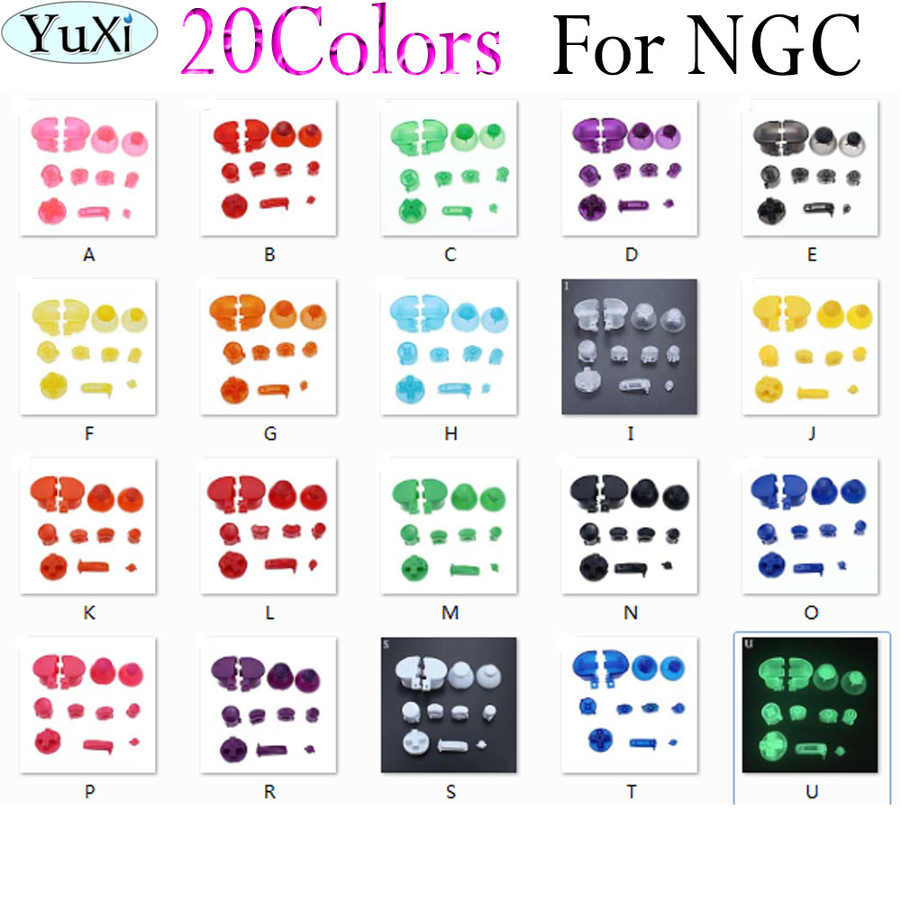 10sets/lot Full set D Pads Power ON OFF Button for GameCube A B X Y L R  Buttons and Analog Thumbstick Joystick Stick Cap for NGC