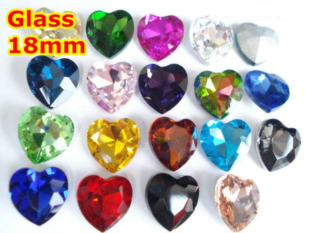 27 Cores 90 pçs/lote 18mm da Forma Do Coração de Vidro Pointback Cristal Fantasia de Pedra Para Fazer Jóias, Vestuário