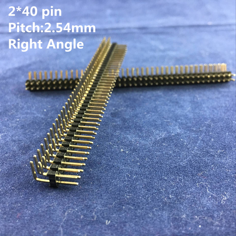 High Quality 2.54mm Pitch 2 x 40 Pins Copper Male Double Row Right Angle Pin Header Strip
