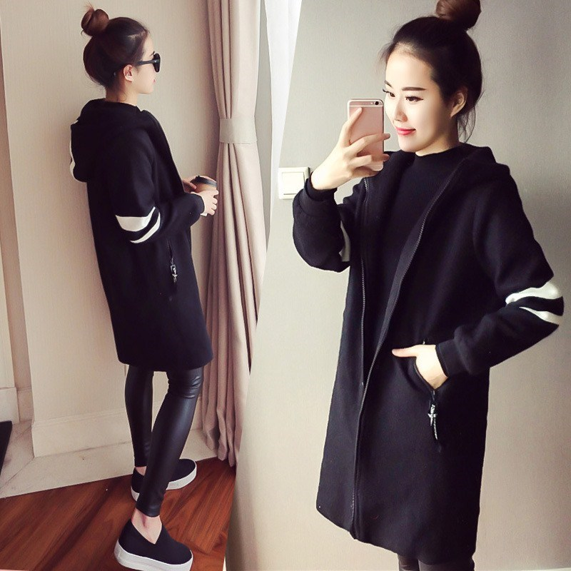 5Xl Plus Size Casual Black Coats Women Hooded Long Outerwear Autumn Long Sleeve Packets Loose   Trench