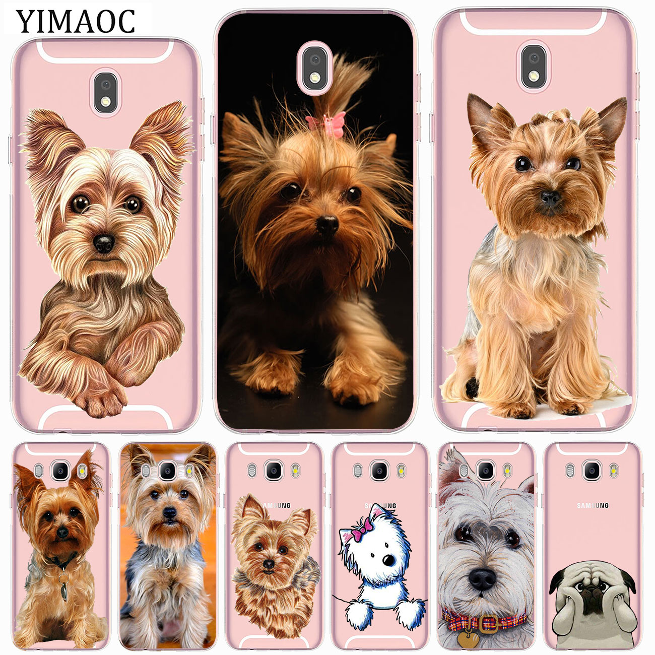 yorkshire terrier <font><b>dog</b></font> puppy Soft <font><b>Case</b></font> for <font><b>Samsung</b></font> Galaxy J8 <font><b>J7</b></font> Duo J6 J5 J4 J3 2017 A2 Core 2016 A5 A9 A8 A7 A6 Plus 2018 image