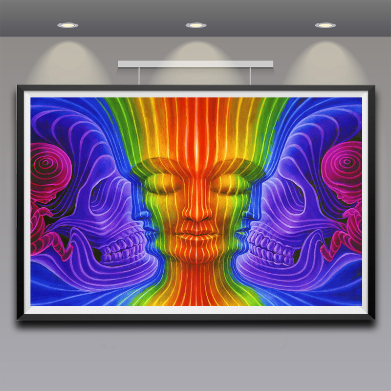 Trippy Alex Grey Art Silk Fabric Psychedelic Poster Print Classic Wall Home Decor 12x19 15x24 19x30 22x35 Inches Free Shipping
