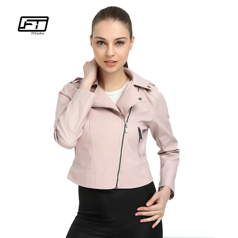 Fitaylor Women Faux   Leather   Jacket Pink   Leather   Biker Coats Short Design Cute Motorcycle Outwear Slim Punk PU Jackets