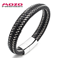 MOZO FASHION Men Bracelet Steel Wire & Leather Braided Rope Bracelet Stainless Steel Magnetic Clasp Bracelet Male Jewelry PS2008
