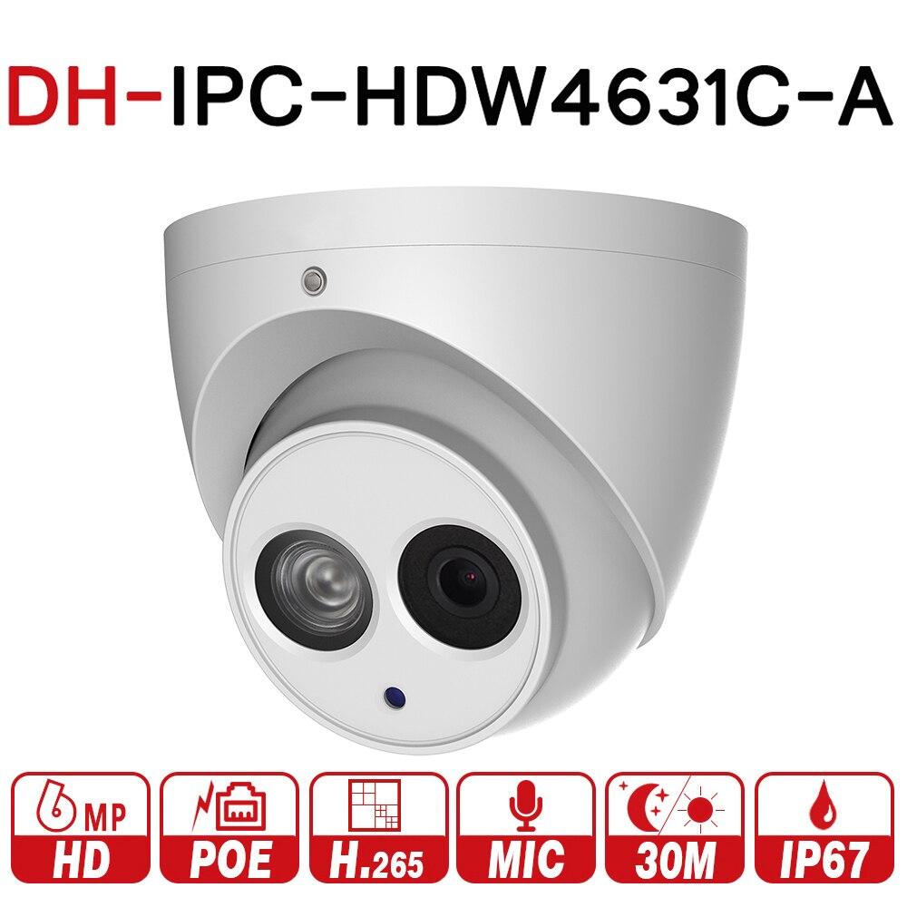 DH IPC-HDW4631C-A 6MP HD POE רשת IR Mini Dome IP מצלמה מתכת מקרה מובנה מיקרופון CCTV מצלמה ראיית לילה עם לוגו
