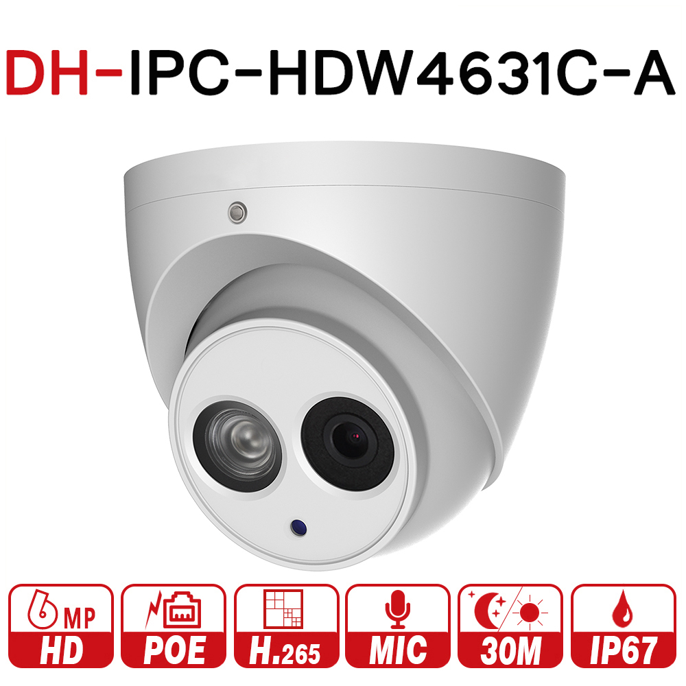 DH IPC-HDW4631C-A 6MP HD POE Network IR Mini Dome IP Camera Metal Case Built-in MIC CCTV Camera Starnight Vision with dahua logo original dahua dh ipc ebw81200 12mp ultra hd metal waterproof shell ir network fisheye camera ip67 ipc ebw81200
