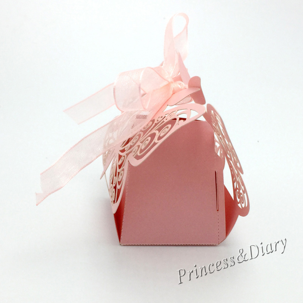 50Pieces Laser Cut Butterfly Wedding Favor Box in Pearl color Candy ...