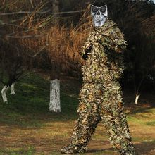 Hunting Ghillie Suit 3D Camo Bionic Leaf Linen Hunting Clothes Camouflage Jungle Woodland Birdwatching Poncho Hunting Clothing