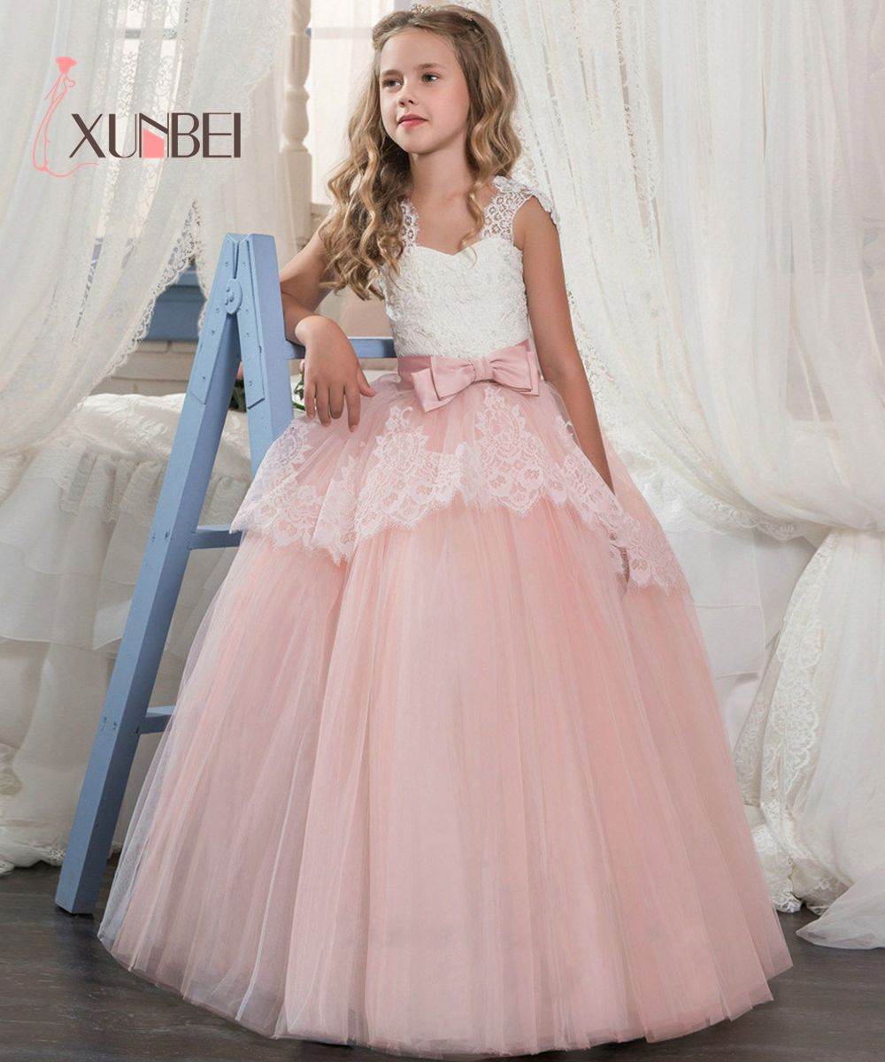 Princess Lace Flower Girl Dresses Big Bow Floor Length Girls Pageant Dresses First Communion Dresses Ball Gowns For Girls