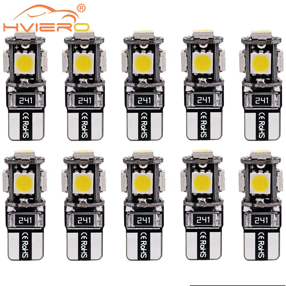 10X T10 W5w Canbus White Blue Red 5smd Car Light 194 168 Error Bulbs Wedge Lamp Parking Bulb Band Decoder Sign Trun Light DC 12V