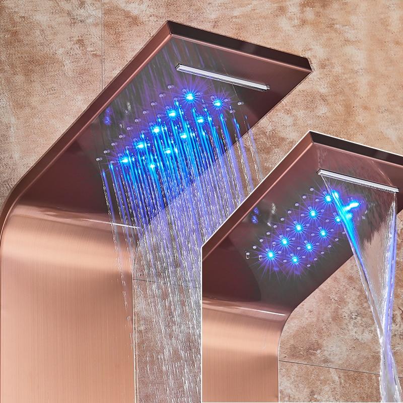 HTB1L9voJY2pK1RjSZFsq6yNlXXag LED Light Shower Faucet Bathroom Waterfall Rain Black Shower Panel In Wall Shower System with Spa Massage Sprayer and Bidet Tap