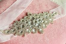 Fashion Rhinestones Applique Ribbon Wedding Sash Evening Dress Belt Handmade bridal gown rhinestone appliques