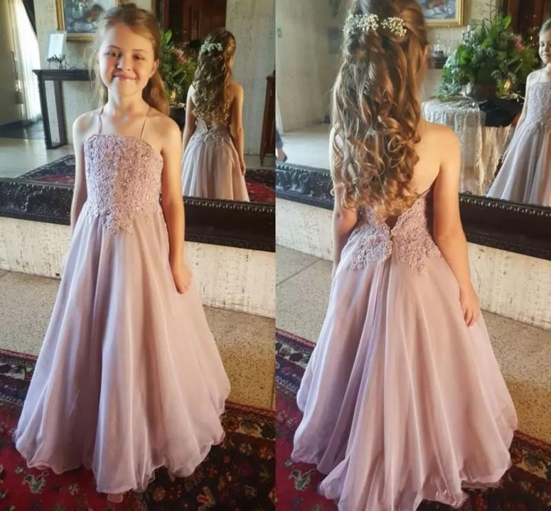 Wedding Spaghetti Pink Girl Pageant primera comunion Gowns Floor Length Backless Kids Party gown Lovely Lace Flower Dresses