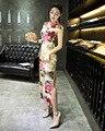 Ladies's Chinese Qipao Long Velvet Dress Gown Cheongsam Size S M L XL XXL XXXL
