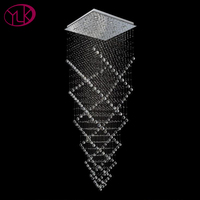 Youlaike Modern Luxury Chandelier Lighting Square Flush Mount Stair Crystal Chandeliers Large Hanging Cristal Lustres
