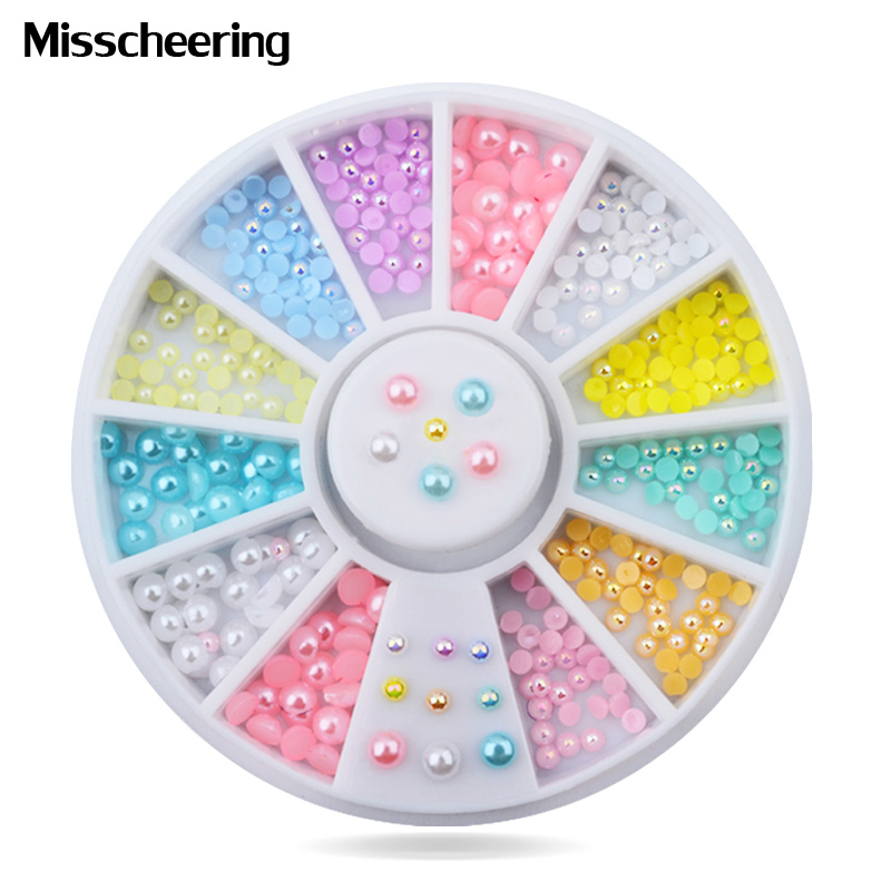 Mix Sizes Candy Color Shiny Half Round Flatback Pearls Nail Art Stickers Tips Glitter Fashion Nail Rhinestone Decoration Wheel mp620 mp622 mp625 projector color wheel mp620 mp622 mp625