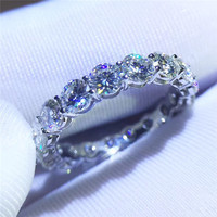 choucong Fine Jewelry Women Band 925 sterling Silver ring 3ct Diamonique 5A Zircon Cz Engagement Wedding Rings For Women Gift