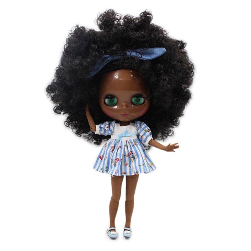 Dream Fairy factory blyth doll super black skin tone darkest skin black hair joint body 1