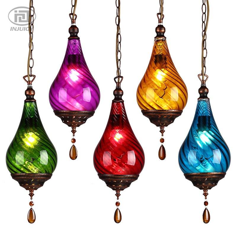 estilo mediterrneo retro de colores de cristal colgante lmpara de cristal de la vendimia colgante luz