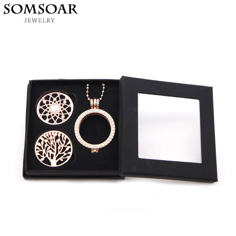 My Moneda Pendant Necklace Set with 2pcs Crystal Coin Disc and 80cm Bead Chain plus 35mm My Coin Holder Frame