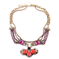 Indian Style Necklace Multilayer Long Chain Gold Plated Flower Pendants For Women Crystal Making Supplies Resin