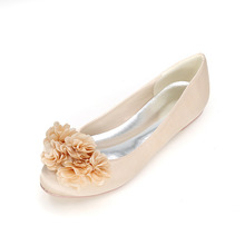 Sweet 3D flowe petal rounded toe woman flats satin flat shoes lady girl cocktail party any occasion elegant Champagne Red Silver