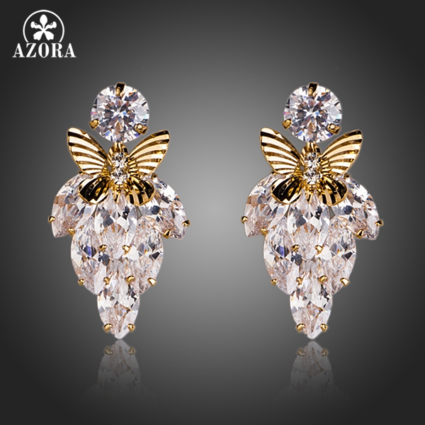 AZORA Clear Cubic Zircon Botryoid With Gold Color Butterfly Drop Earrings TE0102