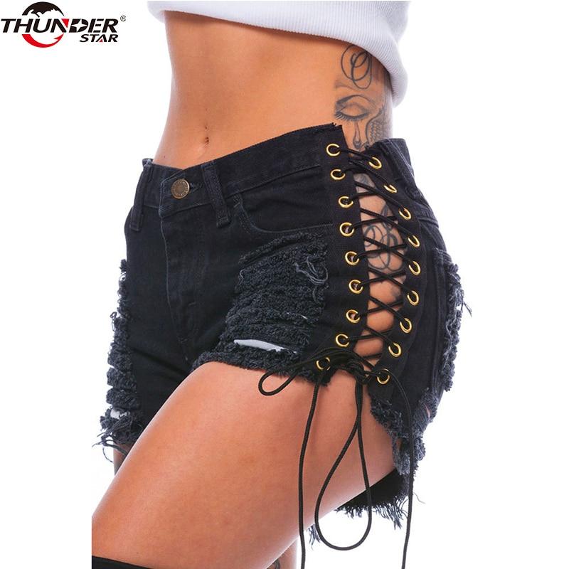 Sexy Women Denim Shorts Solid Lacing Ripped Mid Wasit Shorts 2018 Summer Slim Hole Bandage Mini Short Jeans Shorts Plus Size