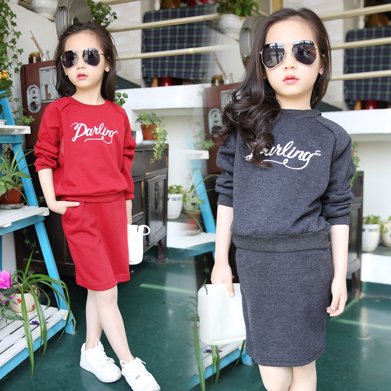 Kids Girls Children Cotton Long Sleeved Suit New Child Spring Autumn Korean Two Piece Kids Clothing Sets Red Grey Cotton Letters new autumn sweet girls sets two piece cardigan outwear cape jacket long sleeve dress cotton lace kids girls clothes sets