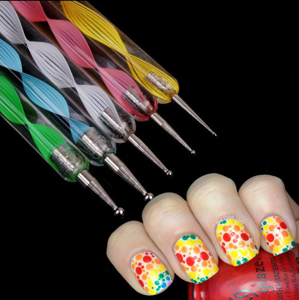 5x 2way Dotting Pen Marbleizing Tool Nail Art Dot Paint 515 In