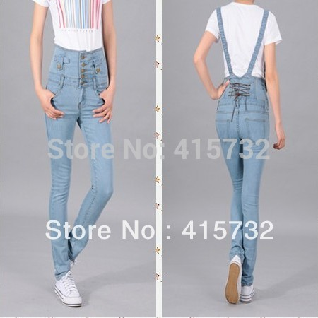 Free Shipping New High Waisted Pants With  Bib Pants Skinny Jeans Plus Size Detachable Denim Overalls Rompers Jumpsuit Suspender free shipping 2016 plus size denim bib pants halter neck jumpsuit and rompers for women suspenders jeans ol straight trousers xl