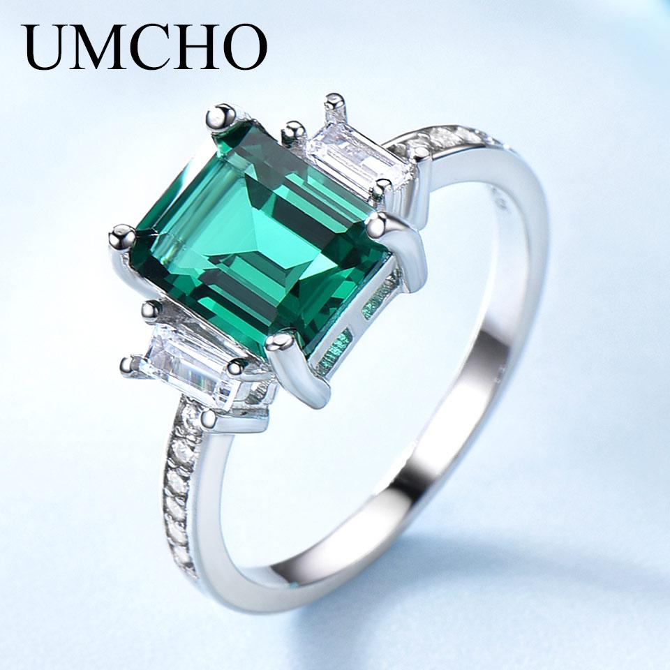 UMCHO Grün Smaragd Echtem 925 Sterling Silber Ringe für Frauen Versprechen Prinzessin Edelstein Ring Hochzeit Romantische Schmuck Geschenk Neue