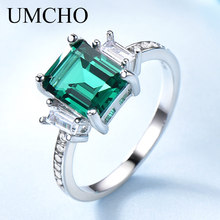 UMCHO Green Emerald Genuine 925 Sterling Silver Rings for Women Promise Princess Gemstone Ring Wedding Romantic Jewelry Gift New hutang new style natural aquamarine promise ring solid 925 sterling silver gemstone ring fine jewelry wedding women s rings gift