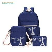 MIWIND Eiffel Tower 2016 New Fashion Printing Backpack Women 3 Pieces/set Canvas School Bags For Teenagers Mochila Escolar CB240