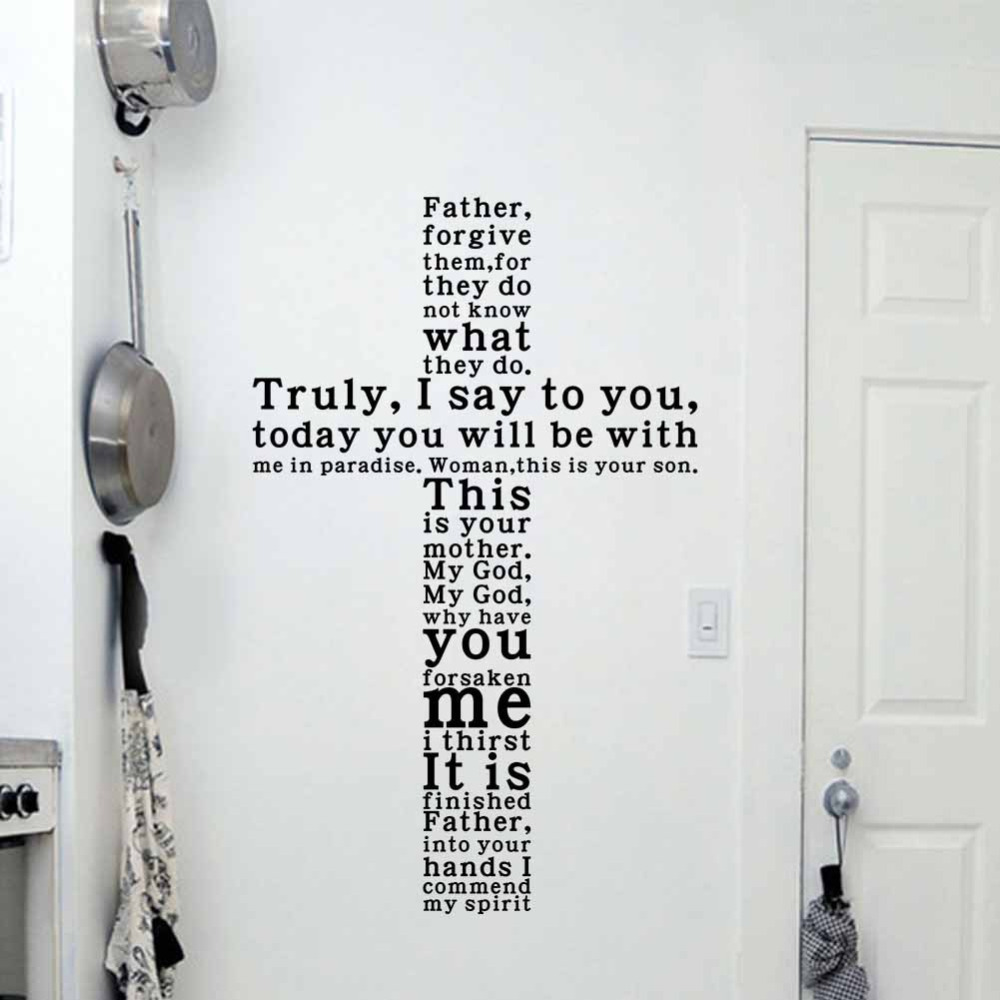GOD Vinyl Quote Wall Decal Sticker Christian Religious Cross Wall Art Home  Decor In Wall Stickers From Home U0026 Garden On Aliexpress.com | Alibaba Group