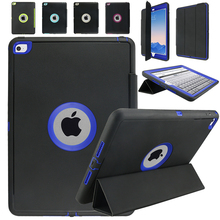 Para el iPad aire 2 / iPad 6 ( 2014 ) Retina hijos seguros armadura a prueba de golpes de silicona de alta resistencia duro cubierta del caso w / Protector de pantalla de cine
