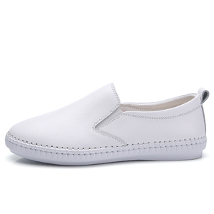 Image 3 - STQ 2020 Autumn Women Flats Shoes Ballerina Flats Leather Oxford Shoes For Women White Slip On Ballet Flats Loafers Shoes 9371