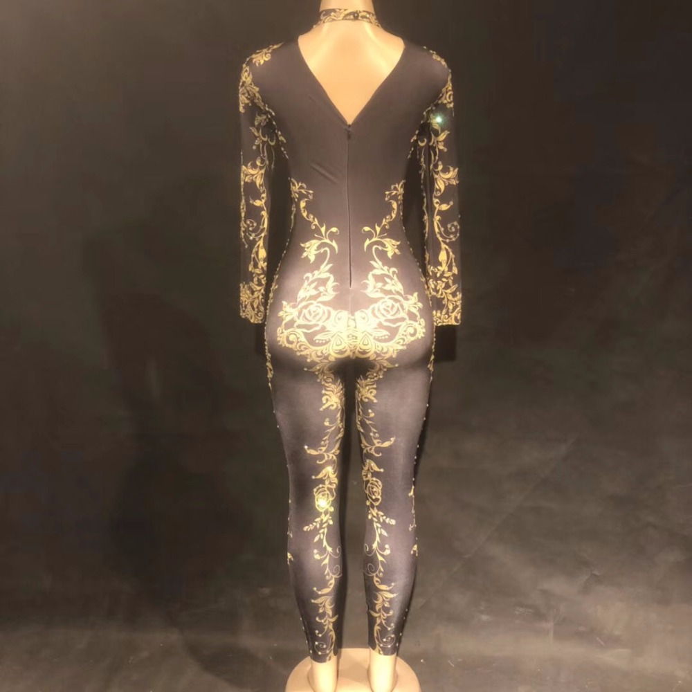 Nude Skinny Bodysuit Sexy Leggings Costume One-piece Dance Performance Wear Female Singer Stage Big Stretch Bar Jumpsuit Home