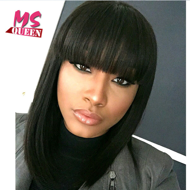 Medium Long Bob Wig Black Synthetic None Lace Lace Front Wig With