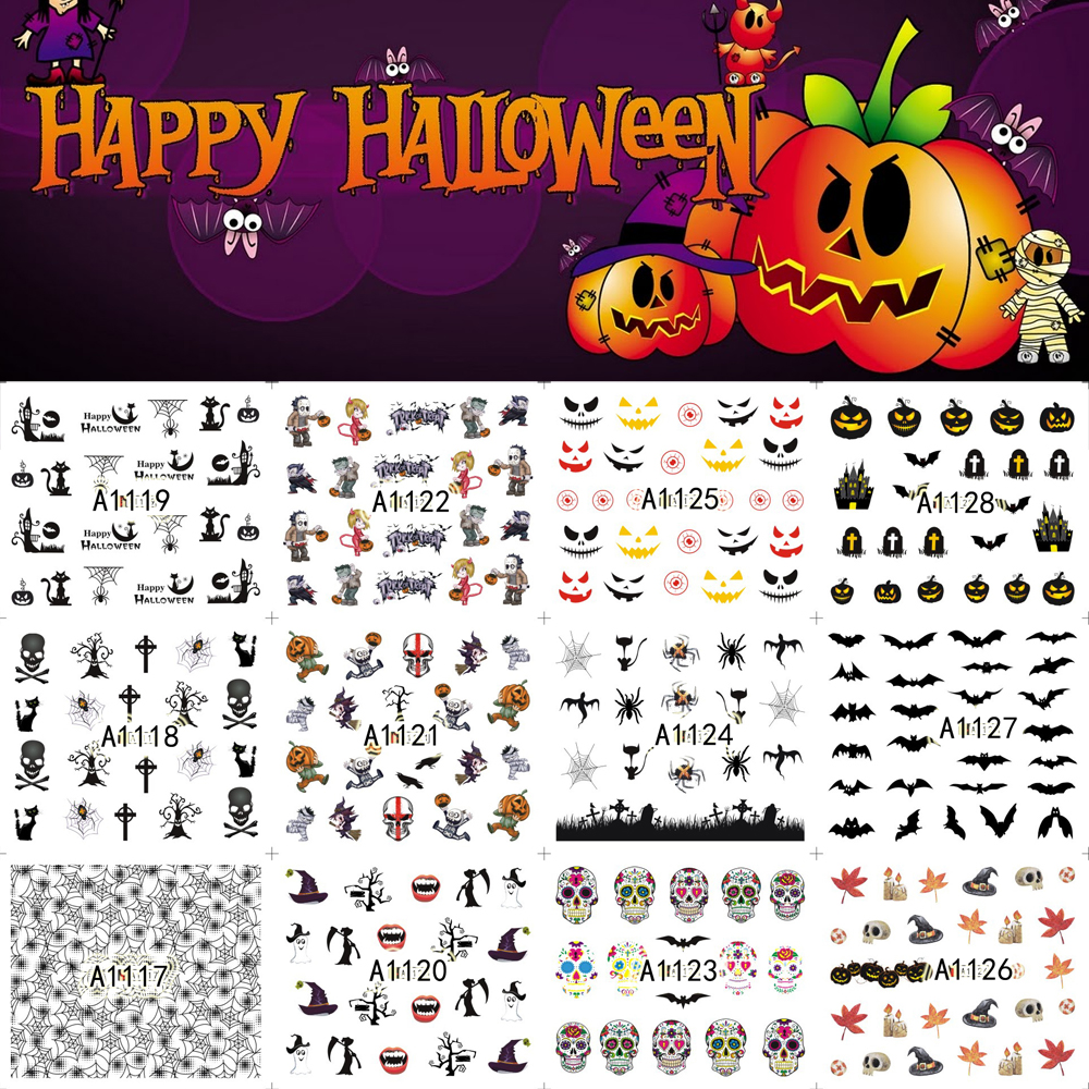 12 Sheets Halloween Nail Art Water Transfer Sticker Decals ...