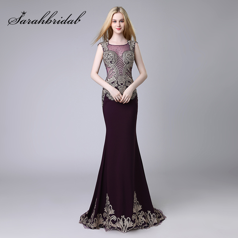 Gorgeous Beading Purple Mermaid Evening Dresses with Lace Appliques Illusion Bodice Formal Prom Party Dress Pageant Gowns OL525