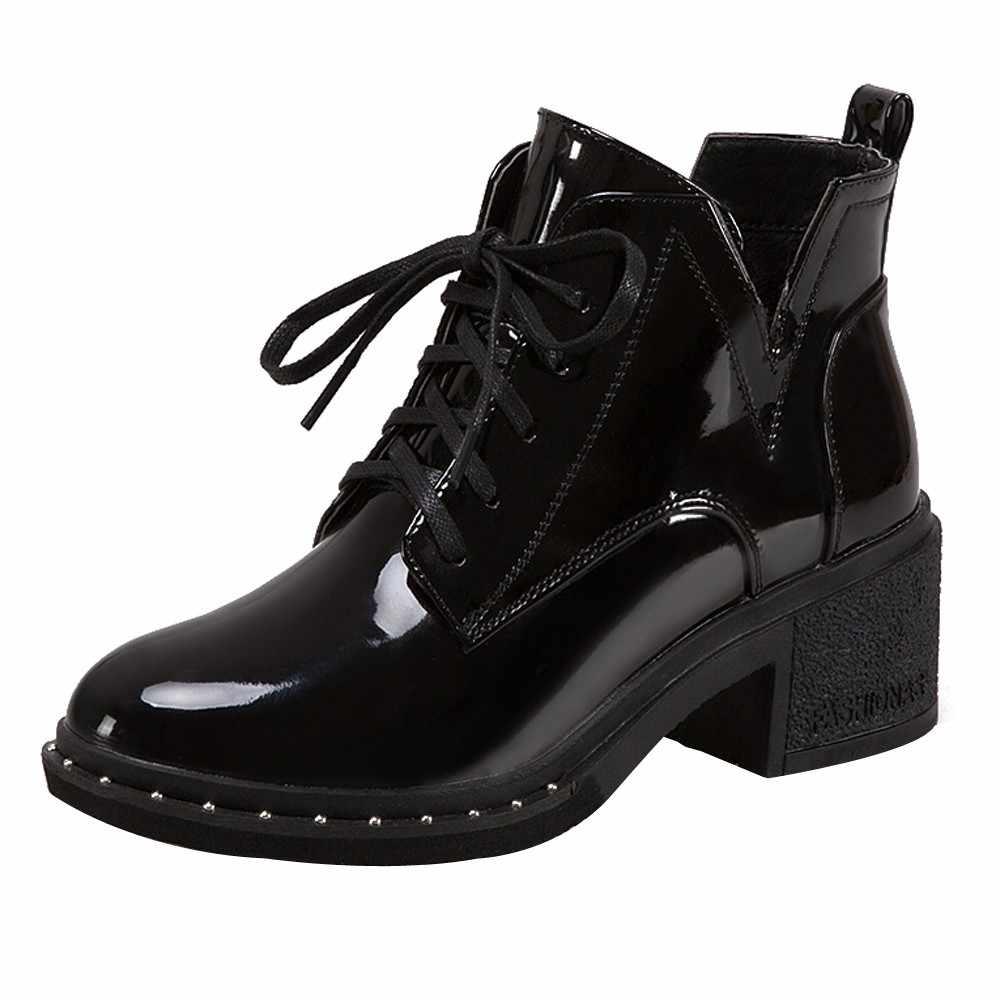YOUYEDIAN Yeni bahar Kış Kadın Pompaları Botları yüksek kaliteli dantel-up European Bayan ayakkabıları PU yüksek topuklu Çizmeler Hızlı teslimat # jss