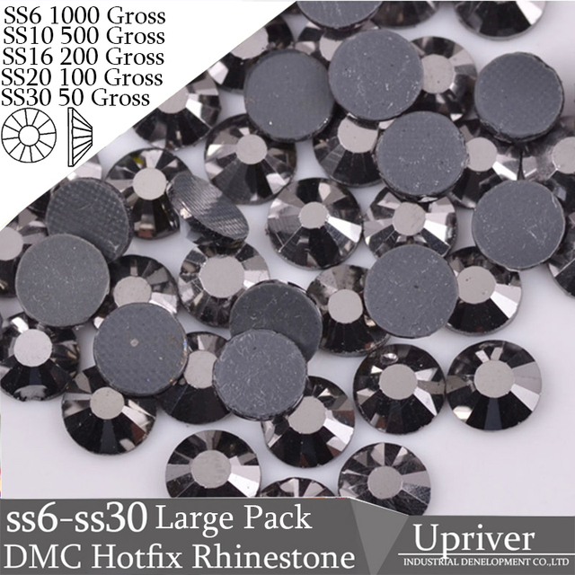 Upriver Wholesale Large Pack Bulk Packing Shiny Heat Transfer SS6 SS10 SS20  SS20 SS30 Jet Hematite Hotfix Rhinestones 2faf67ba4a76