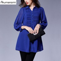 Autumn Chiffon Blouse Turn-down Collar Nine Quarter Sleeve Pleated Orange Black Royal Blue Women Clothes Spring Shirt Plus Size