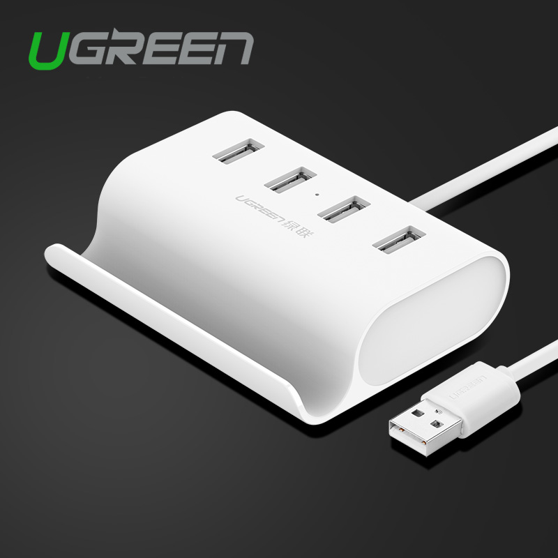 USB 2 0 4 Port HUB Splitter adapter with micro usb power stand in white 50cm