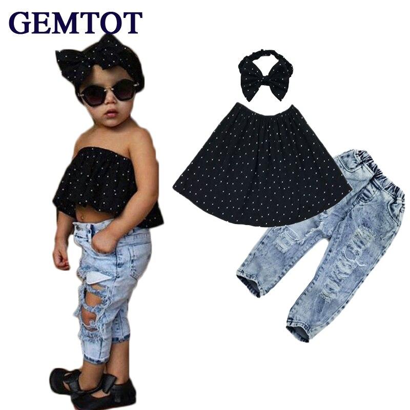 GEMTOT Summer 2017 Kids Fashion Girls Clothing Sets 3 pcs Black Blouse Top hole Casual Jeans